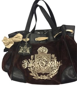 Juicy Couture Handbag Bow And White Velour Shoulder Bag