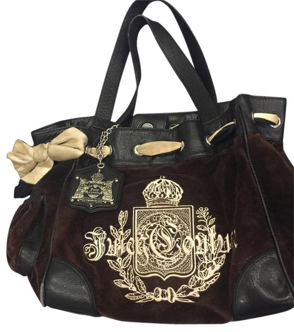 Item - Daydreamer Collection Black/Brown/Cream Velour with Leather Trim and Handles Shoulder Bag