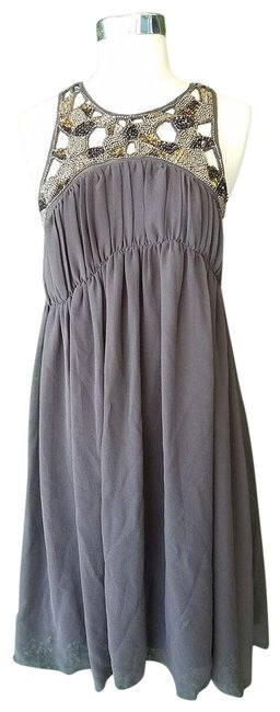 Item - Gray Beaded Cut Out Embellished Mid-length Cocktail Dress Size 10 (M)