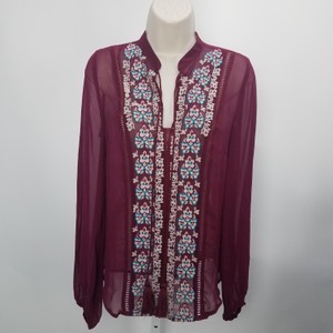 Plenty by Tracy Reese Embroidered Coverup Designer Tassel Boho Top Burgundy