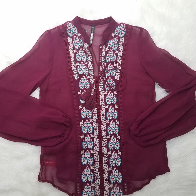 Plenty by Tracy Reese Embroidered Coverup Designer Tassel Boho Top Burgundy Image 2