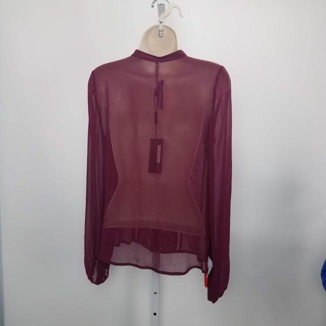 Plenty by Tracy Reese Embroidered Coverup Designer Tassel Boho Top Burgundy Image 3