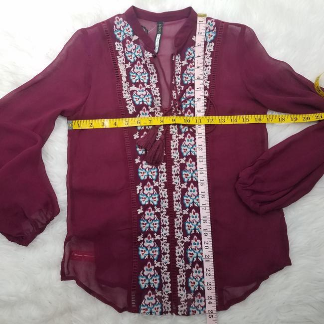 Plenty by Tracy Reese Embroidered Coverup Designer Tassel Boho Top Burgundy Image 5