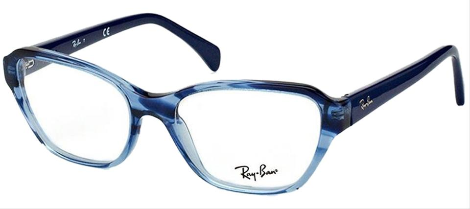 7ae233824c9 Ray-Ban Striped Gradient Blue Frame   Demo Lens Women Square Eyeglasses