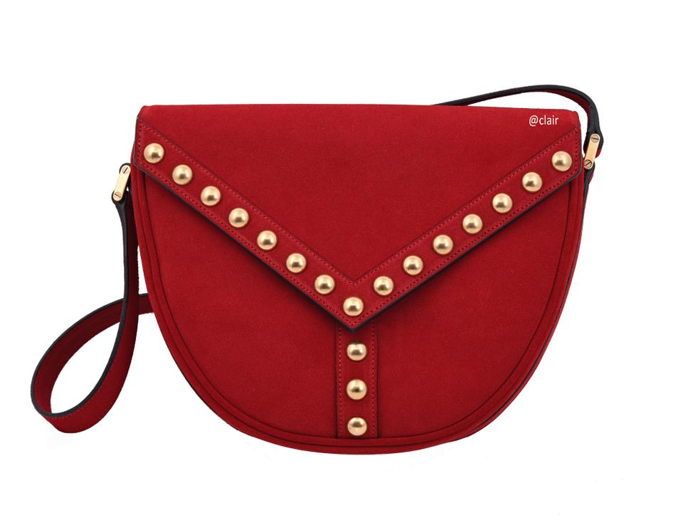 Saint Laurent Y Studs New Red Suede Leather Cross Body Bag - Tradesy e74d5edbbd5ab