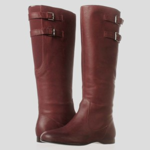 Enzo Angiolini New With Box Leather Flat Heel Burgundy Boots