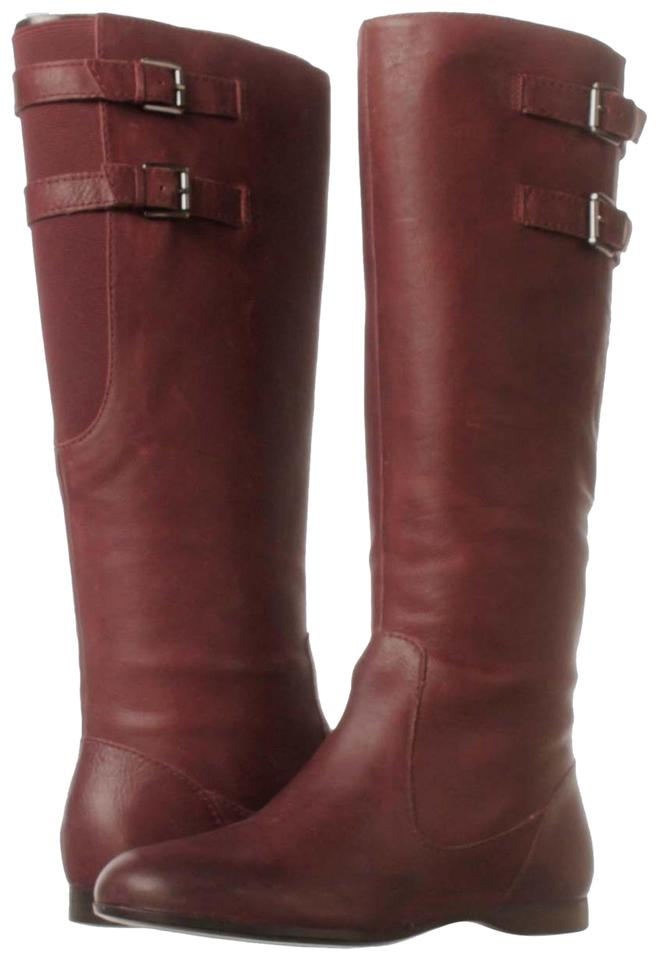 5472f1d45e6ae Enzo Angiolini Burgundy Flat Heel Leather Boots Booties. Size  US 6 ...
