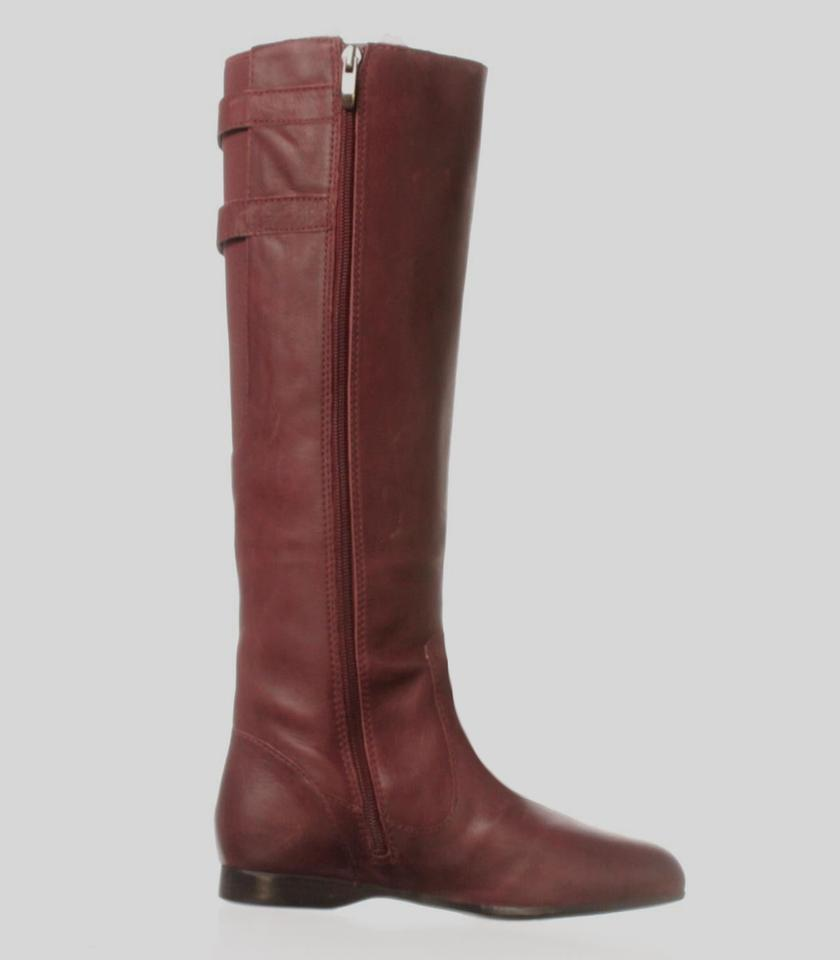 4ae15ab61fd1c Enzo Angiolini New With Box Leather Flat Heel Burgundy Boots Image 3. 1234