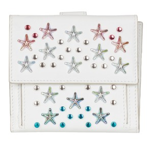 Jimmy Choo Jimmy Choo Women's White Leather Frida Stars Bi-fold Wallet