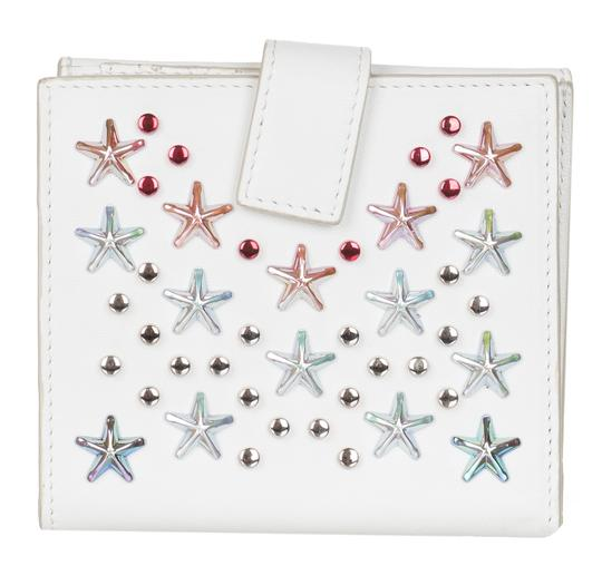 Jimmy Choo Jimmy Choo Women's White Leather Frida Stars Bi-fold Wallet Image 1
