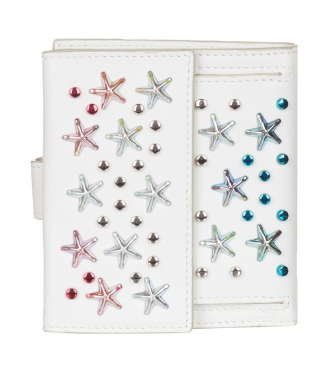 Jimmy Choo Jimmy Choo Women's White Leather Frida Stars Bi-fold Wallet Image 2