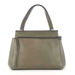 Céline Leather Satchel in olive green