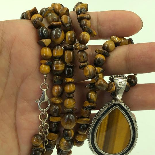 WK CHINA 925 STER Silver Tiger's Eye Necklace & Pendant Image 1