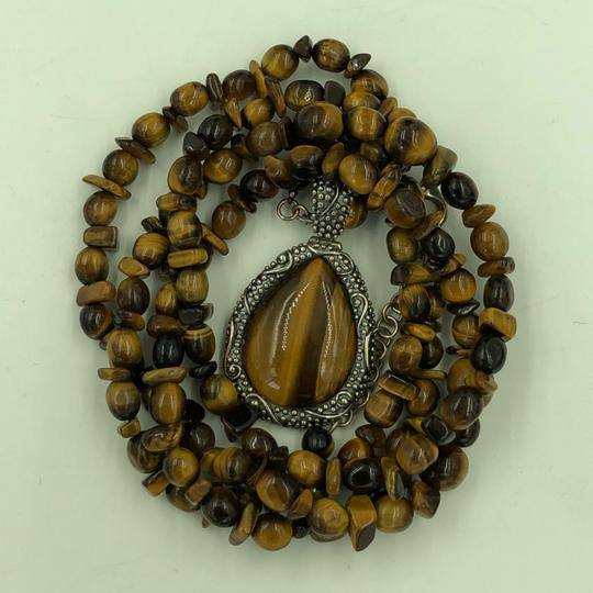 WK CHINA 925 STER Silver Tiger's Eye Necklace & Pendant Image 2