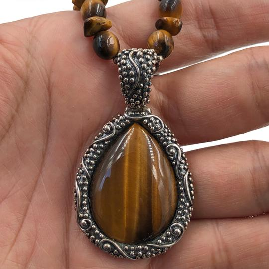 WK CHINA 925 STER Silver Tiger's Eye Necklace & Pendant Image 3