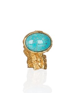 Saint Laurent Gold Metal Turquoise Glass Cabochon Arty Oval Ring