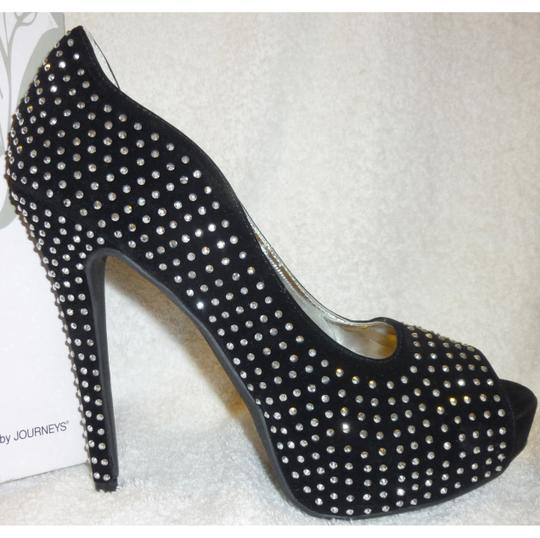Shi by Journey New With Box Crystals Platforms Black Pumps Image 5