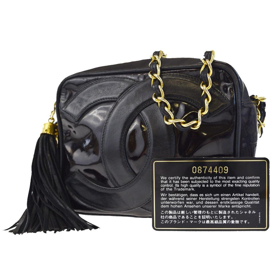 Chanel Cc Logos Fringe Chain Patent Black Leather Shoulder Bag - Tradesy 19a7db9372b8b