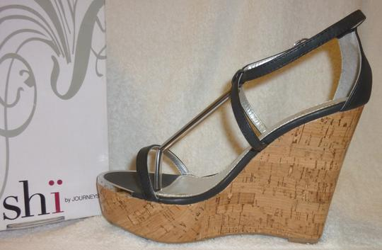 Shi by Journeys New With Box Platform High Heel Black and Tan Wedges Image 1
