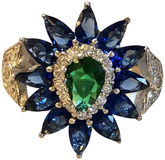 Preload https://img-static.tradesy.com/item/24314033/stunning-6-ct-emerald-quartz-blue-sapphire-white-topaz-large-gemstone-statement-ring-0-9-540-540.jpg