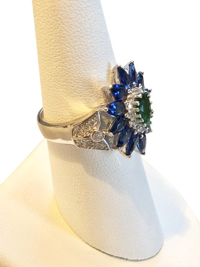 jewelry -Emerald Quartz, Blue sapphire, White Gorgeous, Gemstone Statement- Image 2