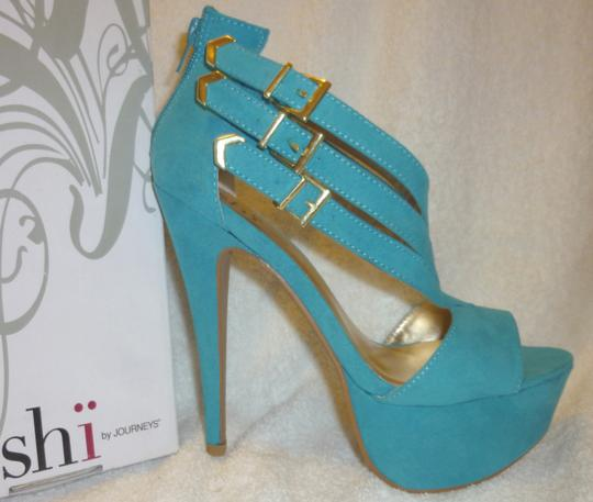 Shi by Journey New With Box Stiletto Turquois Platforms Image 1