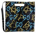 Gucci Ghost Shopper Tote New 2018 Satchel in Black Baby blue and yellow