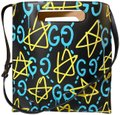 Gucci Ghost Shopper Tote New Limited Edition Satchel in Black Baby blue and yellow