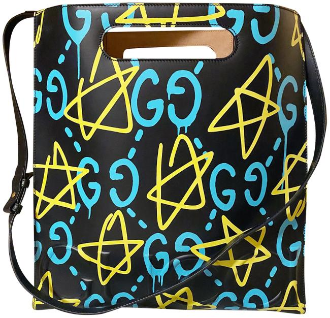 Item - Tote Ghost Medium Black Baby Blue and Yellow Leather Satchel