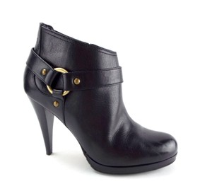 Cole Haan Heeled Ankle Heels Round Toe Ring Harness Platform Black Boots