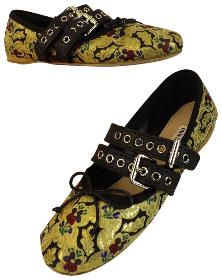 fc03099269 Miu Miu Multicolor Ankle Wrap Bow 2x Belted Buckle Ballerina Flats ...