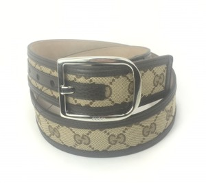 """Gucci Gucci GG Canvas on Leather Belt 32""""-36"""" (90-36) #449716"""