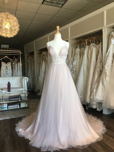 Lillian West Lavender/Almond/Ivory Lace Tulle 6530 Feminine Wedding Dress Size 8 (M)