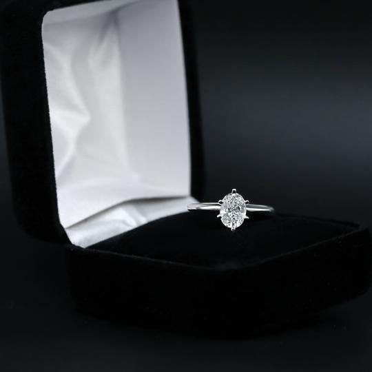 14k White Gold Engagement Features 1.00ct Center Oval Ring Image 3