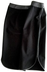 Ann Taylor LOFT Faux Leather Scalloped Hem Pencil Leather Piping Career Wear Skirt Black