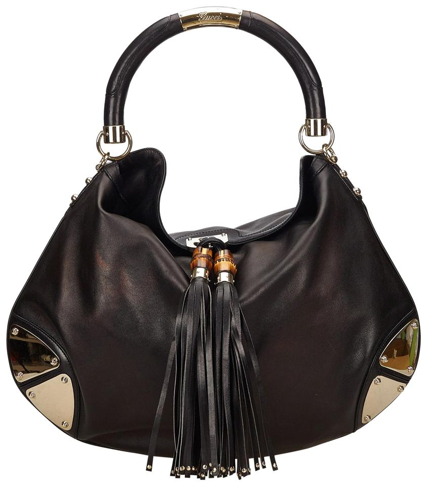 50a3c133f6a Gucci Indy Babouska Top Handle Black Lambskin Leather Hobo Bag - Tradesy
