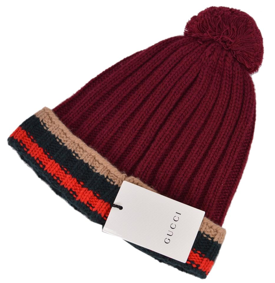befe4fe6 Gucci Multicolor New 414274 Burgundy Wool Striped Beanie Ski Hat 28% off  retail