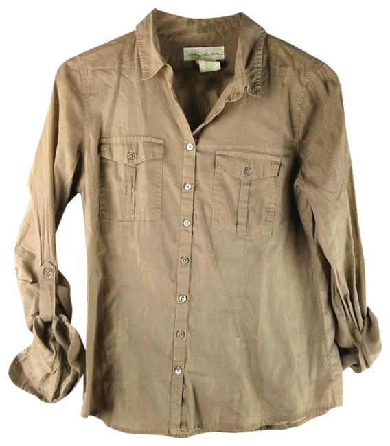 Item - Tan Staring At Stars Button Up Blouse Button-down Top Size 10 (M)