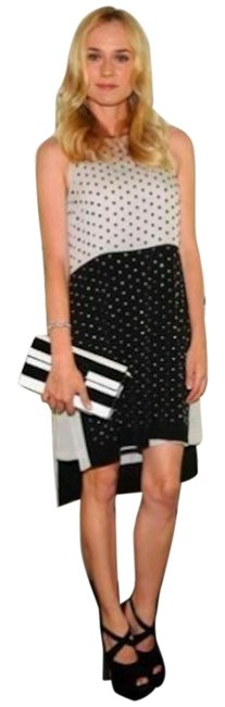 Item - Black and White Bejeweled Mid-length Night Out Dress Size 8 (M)