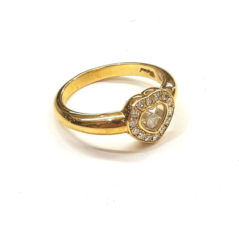 120e07eaf6534 Chopard GORGEOUS!! 18k Yellow Gold Chopard Happy Heart Ring with Floating  Diamond Like new ...
