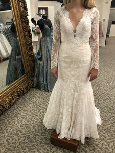 Allure Bridals Baby Pink/Ivory Lace 9260 Modern Wedding Dress Size 6 (S)