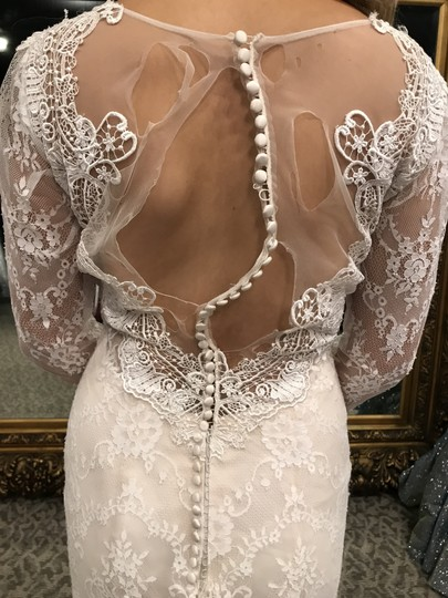 Allure Bridals Baby Pink/Ivory Lace 9260 Modern Wedding Dress Size 6 (S) Image 3