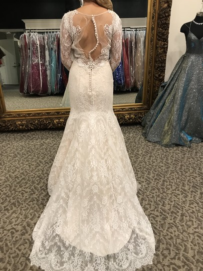 Allure Bridals Baby Pink/Ivory Lace 9260 Modern Wedding Dress Size 6 (S) Image 4