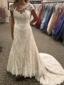 Pronovias Off White/Crystal/Lt. Beige Lace Orive Traditional Wedding Dress Size 8 (M)