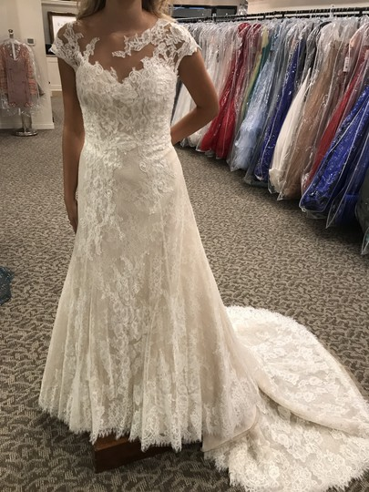 Pronovias Off White/Crystal/Lt. Beige Lace Orive Traditional Wedding Dress Size 8 (M) Image 0