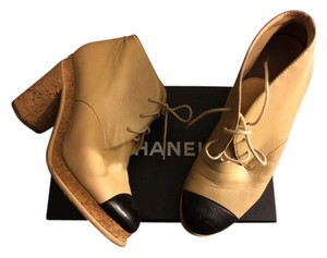 Chanel Ankle Leather Logo Beige Black Boots