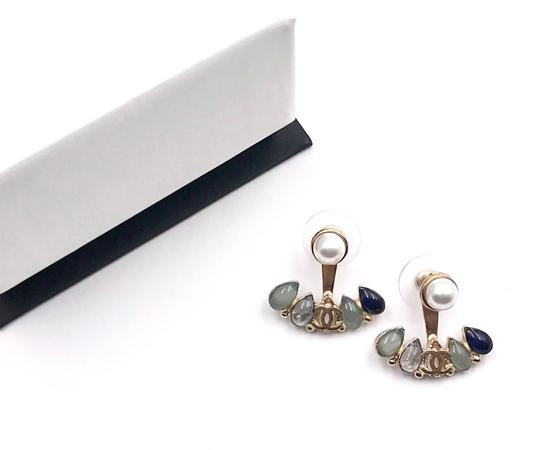 Chanel Chanel Brand New Rare Gold CC 3 Way Blue Anchor Piercing Earrings Image 1