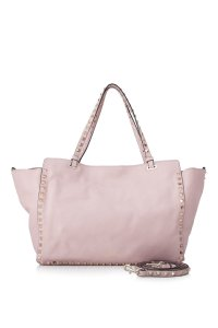 Valentino Rockstud Smooth Leather Leather Tote in Pink