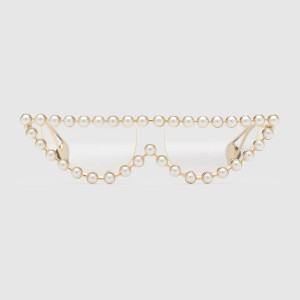 Gucci Gucci Cat Eye Metal Glasses with Pearls