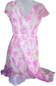 Pink/White Maxi Dress by dressbarn Size 10 Party